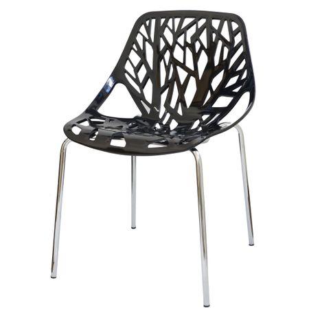 Cadeira Planta Preta Base Cromada 15108 Sun House