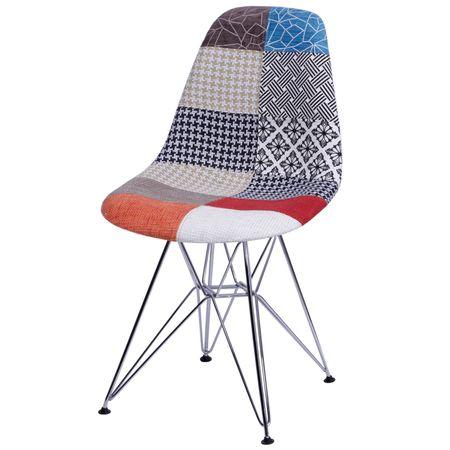 Cadeira Eames PatchWork Base Cromada 25243 Sun House
